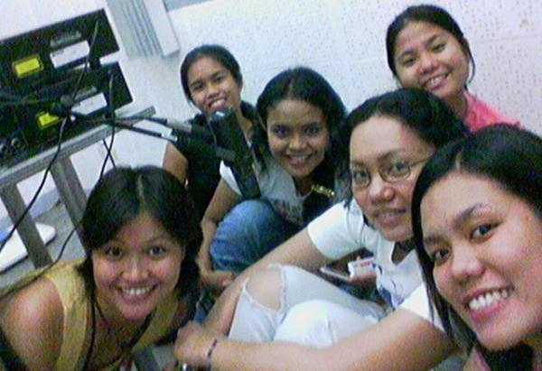 The Tuesday group inside the production booth.