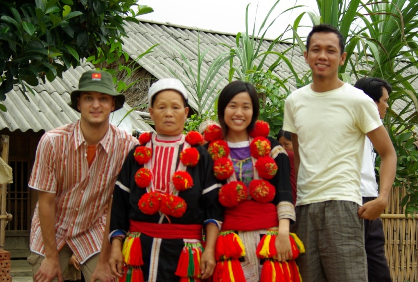 A member of a mountain tribe in Tuyen Quang Province, a Vietnamese and a Belgian friend with the author (expecting another change of panorama in the next six months).