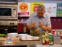Thai Prime Minister Samak Sundaravej hosting his cooking show