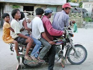 Seating space maximized, habalhabal. A common for of transportation in southern Philippines