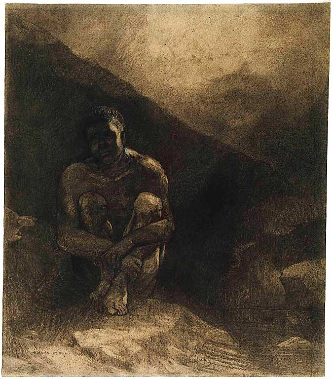Odilon_Redon_-_Primitive_Man_(Seated_in_Shadow)